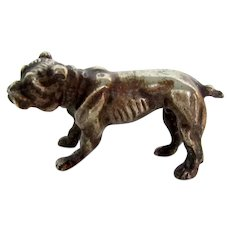 Rare Victorian Solid Silver English Bulldog Dog Antique