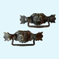 Vintage Pair Bronze Pug/Bulldog Drawer Pulls