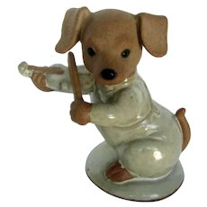 "Vintage 5"" Pottery Dressed Dachshund Dog Playing Violin"