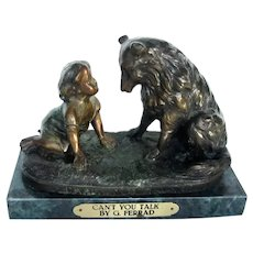 Solid Bronze On Marble Child w/Collie Dog Signed G. Ferrard