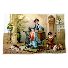 Household Sewing Machine Co. Trade Card w/Family Scene Cats Dogs