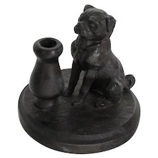 Victorian Handsome Pug Dog Pen/Pencil Holder Antique