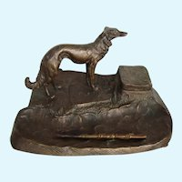 Solid Bronze Inkwell Russian Wolfhound Borzoi Dog Vintage With Pen