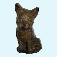 Solid Bronze Fox Kit Sitting Paperweight 3 Inches Tall Vintage