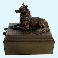 Antique Austrian Bronze Cigar Cutter Match Holder Collie/Sheltie Dog Very Rare