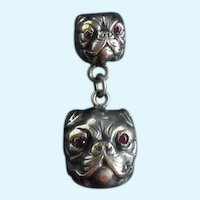 Rare Antique Silver Plate Pug/Bulldog Dogs Fishel Nessler Watch Fob