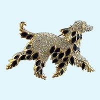 Vintage Large Afghan Dog Quality Rhinestone Enameled Pin/Brooch
