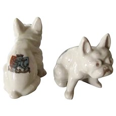 Rare Pair of English Crested China French Bulldogs Dogs Vintage
