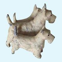 Unusual Vintage Trio Metal Scottie Dogs Wheaten Germany