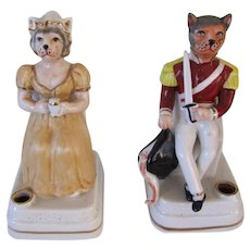 Antique Figural Pair Of Dressed Cat Inkwells