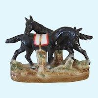 Pretty Pair Germany Black Horses On Base Vintage