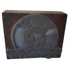 Antique C.1900 Dachshund Dog Printers Block