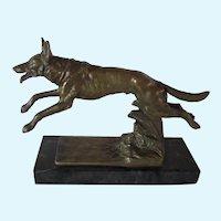 Solid Bronze On Marble Belgian Malinois/German Shepherd Dog Antique