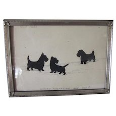 Vintage Paper Silhouette Art Scotty Dogs Valentine