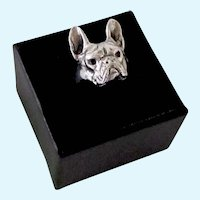 Beautiful Sterling Silver French Bulldog Ring Size 5 Signed