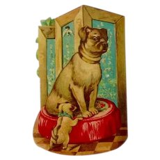 Adorable Antique Die Cut Pug Dog & Puppy Parlor Pillow