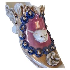 Rare Antique Shoe Spill Vase With Bulldog Germany Crown Mark