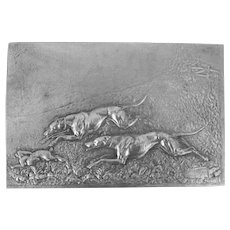 Exceptional Art Nouveau Relief Plaque Greyhound Dogs Artist Signed Dated C.1900