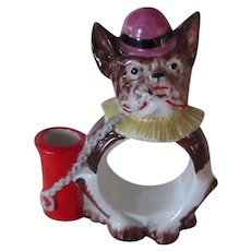 German Porcelain French Bulldog Dog Napkin Ring Toothpick Holder Vintage