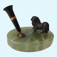 Bronze Pekingese Dog On Marble Pen Holder Antique