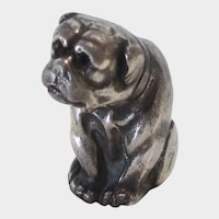 Antique Miniature Sterling Silver Bulldog/Pug Dog