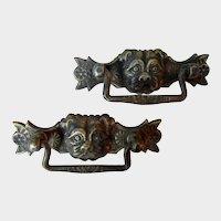 Vintage Pair Bronze Pug/Bulldog Dog Drawer Pulls