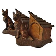 Rare Cast Iron Hubley German Shepherd Dog Bookends With Doghouse