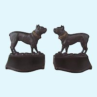 Bradley & Hubbard Cast Iron Boston Terrier Dog Bookends Antique