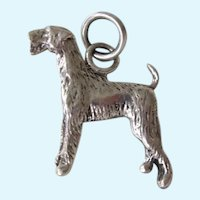 Vintage Sterling Silver Signed Airedale Terrier Dog Charm/Pendant
