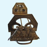 Judd Art Nouveau Bulldog Dogs Expanding Bookend Rack Letter Holder Antique