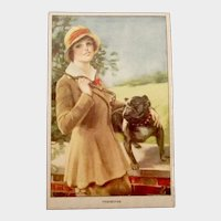 Signed Glamour Fashion Antique Postcard English Bulldog Dog
