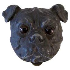Wonderful Victorian Stamp Box Pug Dog Glass Eyes Antique -