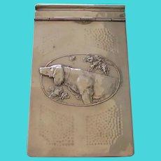 Antique Heavy Silver Plated Calendar/Note Holder Golden Retriever Dog WMF Germany