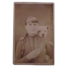 Antique Cabinet Photo Girl With Her Bulldog c.1900