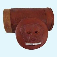 Rare Antique Embossed Leather Pug Dog Collar Box
