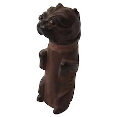 Antique Wood Carved Figural Pug Dog Match Safe Striker