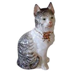 Gorgeous Antique Porcelain Mantle Cat With Bow Collar