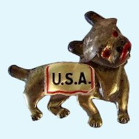 Motion Bobble Head French Bulldog Dog WWI Military Mascot Pin Vintage