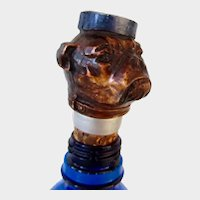 Antique Bottle Stopper Bulldog/Pug Dog Bell Hop