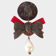 Unusual RCA Nipper Dog Medal/Pin Gutta Percha Antique