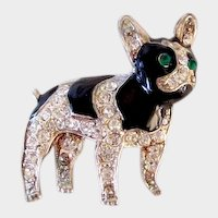 Vintage Rhinestone & Enamel French Bulldog/Boston Terrier Dog Silver Plated Pin
