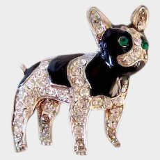 Vintage Rhinestone & Enamel French Bulldog/Boston Terrier Dog Silver Plated Pin