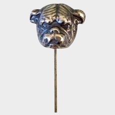Antique Sterling Silver Bulldog Dog 7 1/2 Inch Ladies Hat Pin