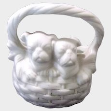 Pair Pug Dogs Bisque Toothpick Holder Antique Kenny Tea Co.