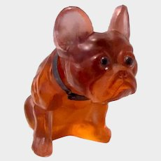 Antique Daum Glass French Bulldog With Metal Collar Glass Eyes