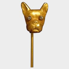 Beautiful Gold Filled French Bulldog/Boston Terrier Antique Stickpin