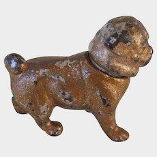 Antique Candle Holder/Snuffer Cast Iron Pug Dog