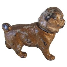 Antique Candle Holder/Snuffer Cast Iron Pug Dog