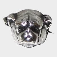 Small Antique Sterling Silver Bulldog Dog Lapel Pin