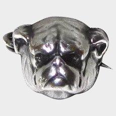 Small Antique Sterling Silver Bulldog Dog Lapel Pin